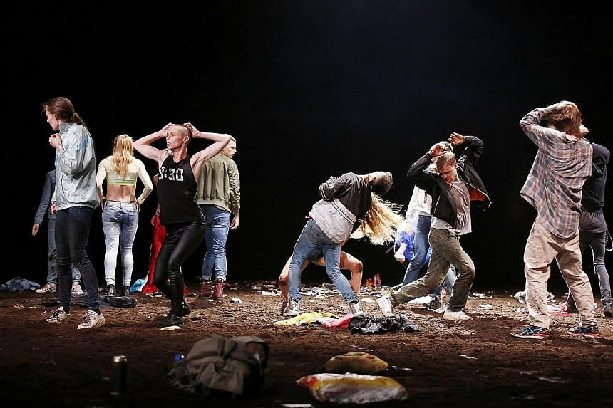 Strong visual tableaus dominate this work (above), which treads the fine line between physical theatre and dance.