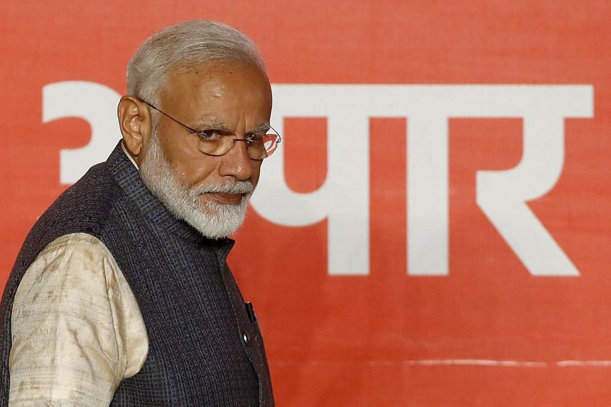 Indian Prime Minister Narendra Modi arrives to address his supporters after the election results at his party headquarters in New Delhi, India, on May 23, 2019.