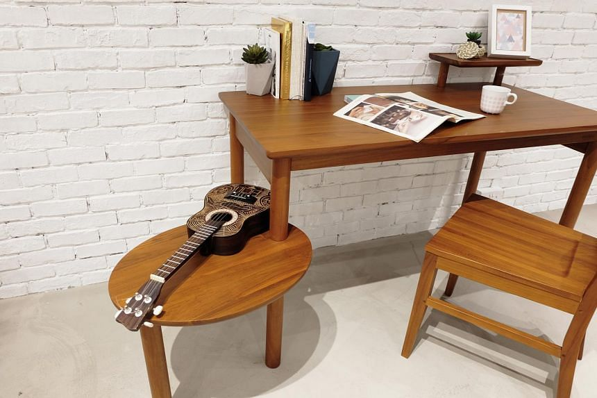 Nine final-year furniture design students from the Nanyang Academy of Fine Arts came up with three multi-purpose furniture pieces that can be used in up to three different ways.