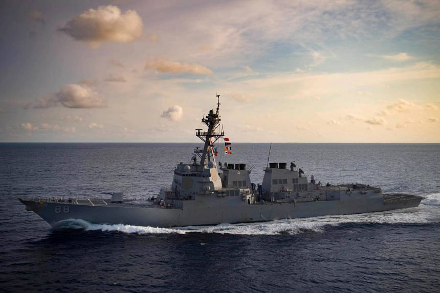 The Arleigh Burke-class guided-missile destroyer USS Preble transits the Indian Ocean, on March 29, 2018.