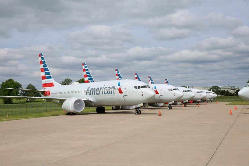 American Airlines Boeing 737 Max jets sit parked at a facility in Tulsa, Oklahoma, in the United States, on May 10, 2019.