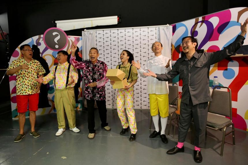 Chinese crosstalk production It Could Have Been___! features (from left) Ma Tian Ling, Johnny Ng, Yong Ser Pin, Audrey Luo, Lee Seng Hui, and Chin Chee Kong.