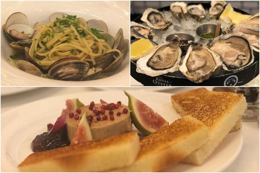 (Clockwise from top left) Linguine with clams, oysters and foie gras au torchon at Culina at Como Dempsey.