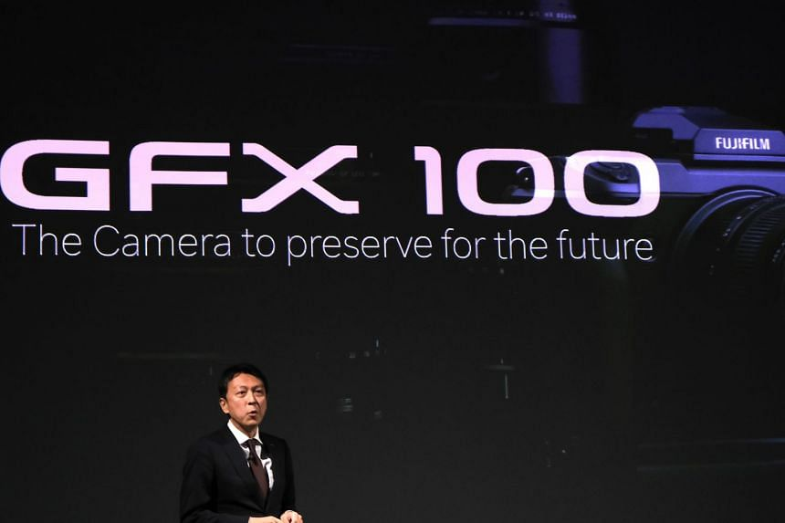 Mr Toshihisa Iida, Fujifilm's general manager of sales and marketing, launched the GFX 100 during a press conference in Tokyo on May 23. ST PHOTO: TREVOR TAN