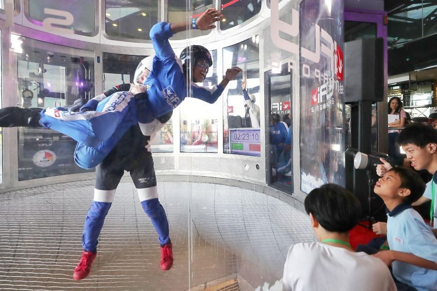 Jude Sharandev from AWWA School joining in the attempt to set a Guinness World Record for the most number of continuous tandem skydives over a four-hour period. The record-setting feat was achieved at iFly Singapore's 8th Anniversary Dreams Take Fl
