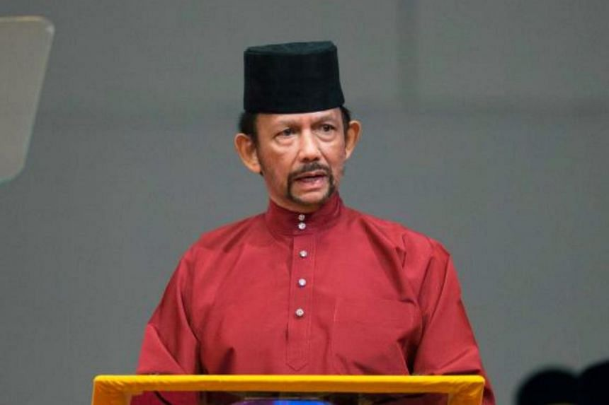 Brunei's Sultan Hassanal Bolkiah delivers a speech during an event in Bandar Seri Begawan on April 3, 2019.