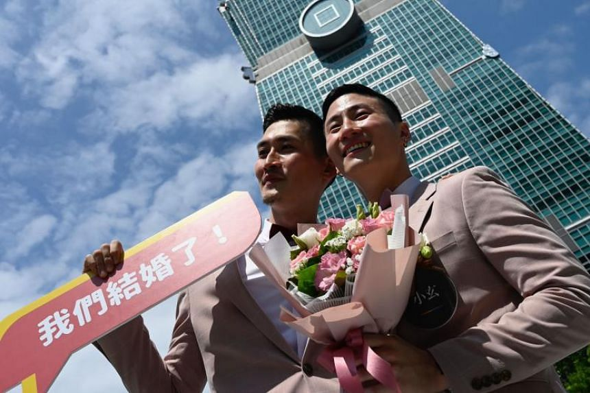 Mr Shane Lin and Mr Marc Yuan, a couple who fell in love at college, were the first to arrive at a government office in downtown Taipei.