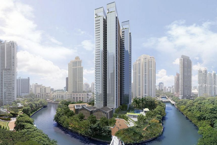 An artist's impression of the upcoming luxury residential project Riviere. The development, expected to be completed by 2023, features 455 units in two 36-storey towers by the Singapore River.