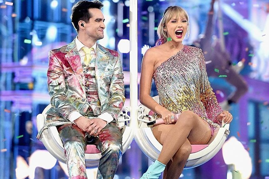 Taylor Swift performing with singer Brendan Urie at the 2019 Billboard Music Awards Show in Las Vegas this month.