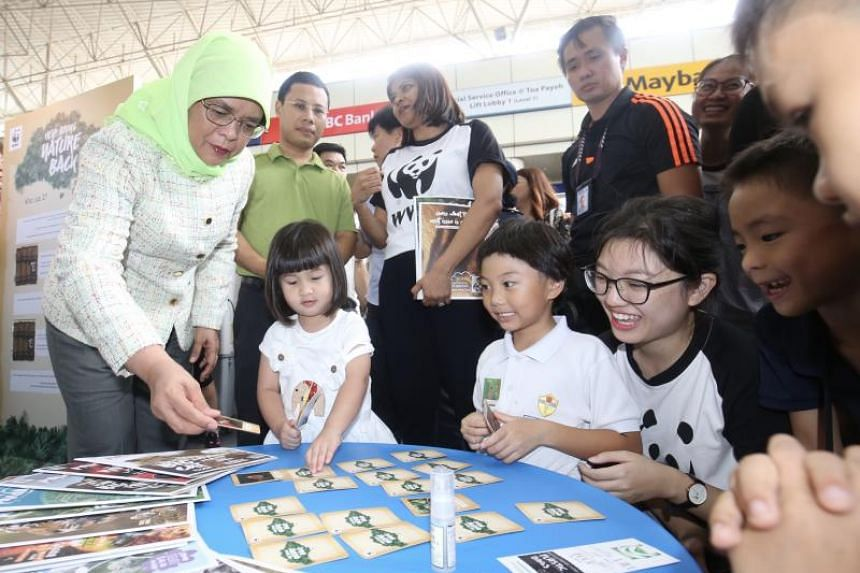President Halimah Yacob and Minister for Social and Family Development Desmond Lee at the Festival of Biodiversity launch at Toa Payoh HDB Hub Mall on May 25, 2019.