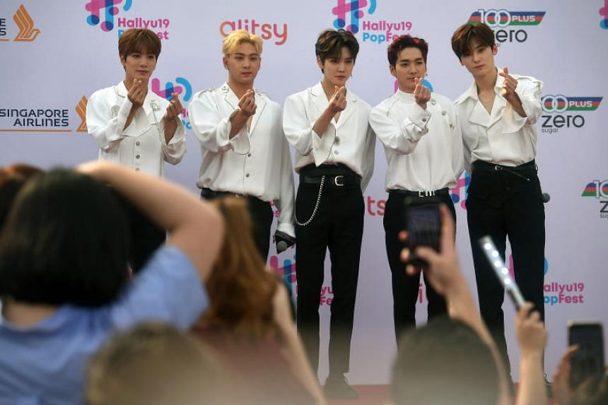 Boy band Nu'est at a red carpet event on the first day of music festival HallyuPopfest at the Singapore Indoor Stadium on May 25, 2019.