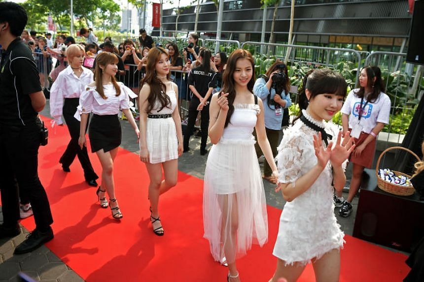 Girl group GWSN at a red carpet event on the first day of music festival HallyuPopfest at the Singapore Indoor Stadium on May 25, 2019.