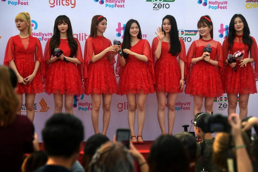 Girl Group Oh My Girl at a red carpet event on the first day of music festival HallyuPopfest at the Singapore Indoor Stadium on May 25, 2019.