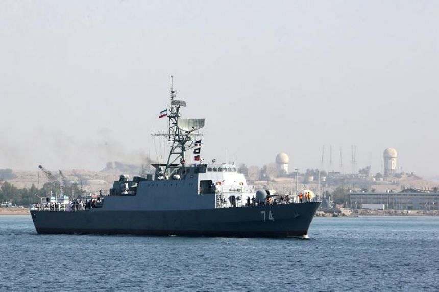 An Iranian Navy warship in the Strait of Hormuz, on April 30, 2019.