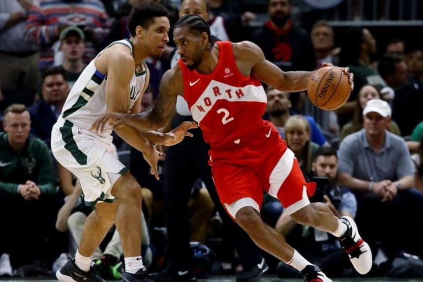 The Toronto Raptors' Kawhi Leonard (right) is averaging 31.4 points, 8.4 rebounds 3.6 assists and 1.5 steals in the playoffs and shooting 51.2 percent from the field.