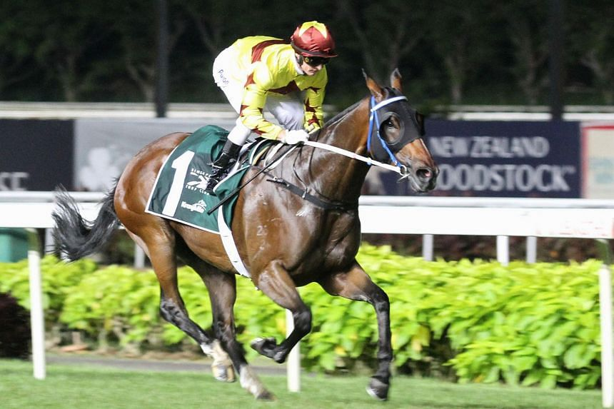 Hong Kong-based jockey Zac Purton on Southern Legend during the Kranji Mile on May 25, 2019.