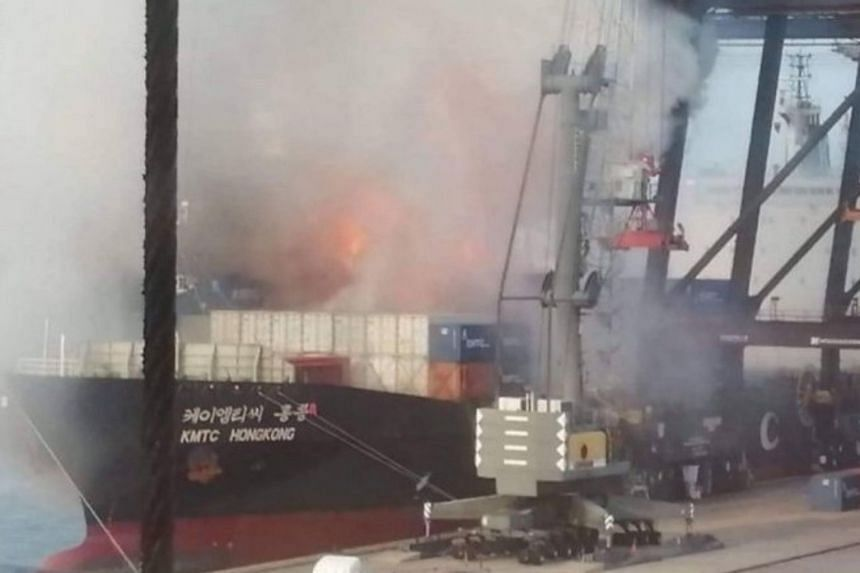 The fire broke out at 6.35am on May 25, 2019, on the cargo ship named KMTC Hong Kong, which was moored to the port terminal in Chonburi province.
