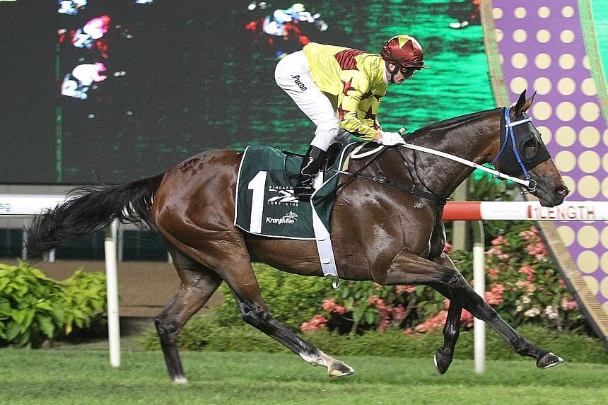 Southern Legend, the $8 favourite with Zac Purton astride, beat Blizzard by 21/2 lengths in a near course-record of 1min 33.61sec. Singapore Sling, the other Hong Kong runner, was third. ST PHOTO: SALWA SUANDI