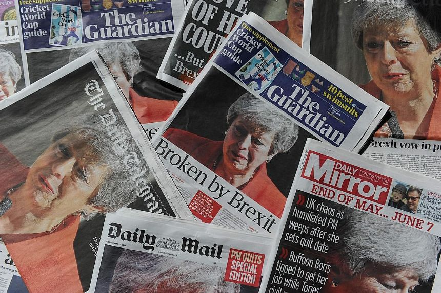 The news of Prime Minister Theresa May's resignation announcement on the front pages of British newspapers yesterday. It has triggered a leadership contest, with several Conservative MPs tipped to run. British Prime Minister Theresa May, fighting bac