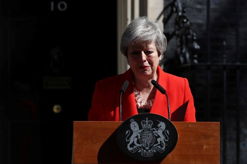 Britain's Prime Minister Theresa May reacts as she announces her resignation outside 10 Downing street in London, on May 24, 2019.