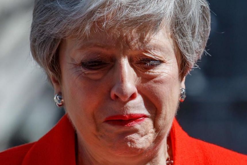 British prime minister Theresa May's voice broke on the steps of her Downing Street office as she told Britons on Friday that she was quitting on June 7, 2019.