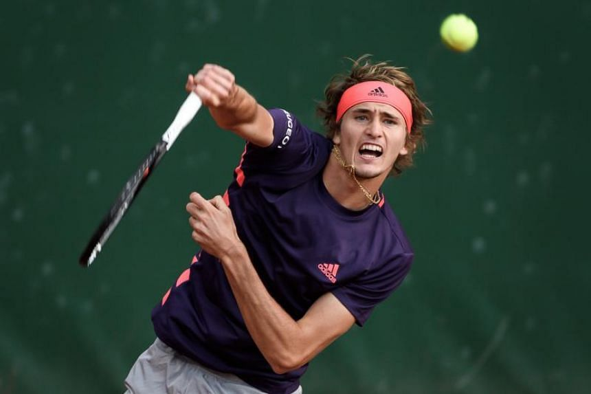 Germany's Alexander Zverev returns a ball to Chilean Nicolas Jarry during their final match at the Geneva Open ATP 250 tennis tournament, on May 25, 2019 in Geneva.