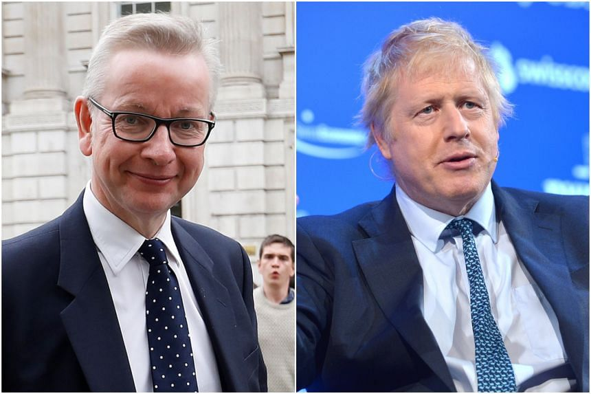 Conservatives Michael Gove (left) and Boris Johnson, who have announced that they are running to become Britain's next prime minister.