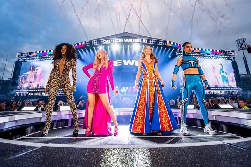 The Spice Girls are on a 13-concert tour of Britain without Victoria Beckham who chose not to take part to focus on her fashion business.