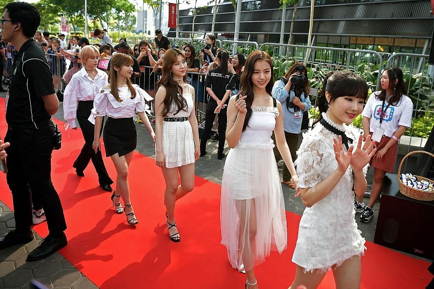 Girl group GWSN on the red carpet at HallyuPopFest at the Singapore Indoor Stadium on Saturday.
