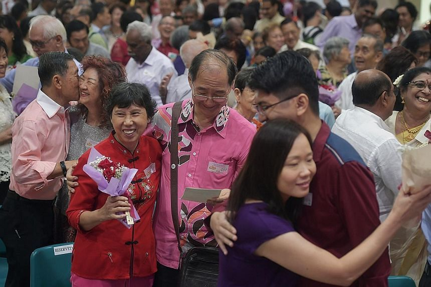 These couples were among the 90 pairs who renewed their wedding vows at a Singapore Bicentennial celebration event held at Teck Ghee Community Club yesterday. The newest married couple tied the knot two months ago, while one couple has been married f