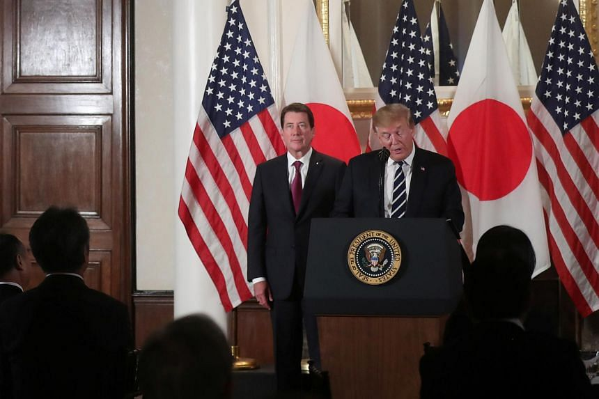 US President Donald Trump attends a Japanese business leaders event in Tokyo, Japan on May 25, 2019.
