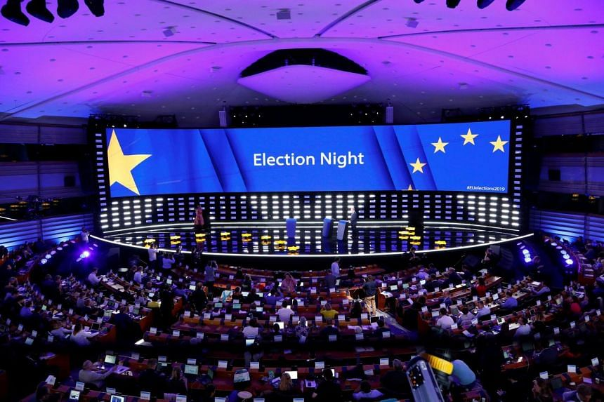 A general view of the Plenary Hall during the election night for European elections at the European Parliament in Brussels.