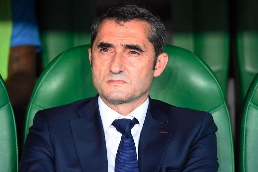 Barcelona's Spanish coach Ernesto Valverde at the 2019 Spanish Copa del Rey (King's Cup) final football match between Barcelona and Valencia on May 25, 2019.