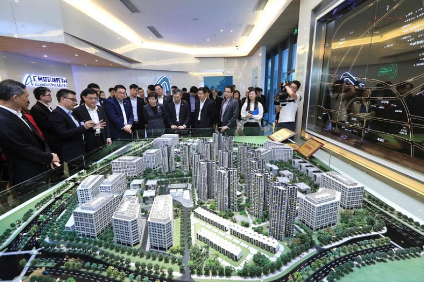 Deputy Prime Minister Heng Swee Keat toured the Sino-Singapore Guangzhou Knowledge City and was briefed on its development on May 27, 2019.