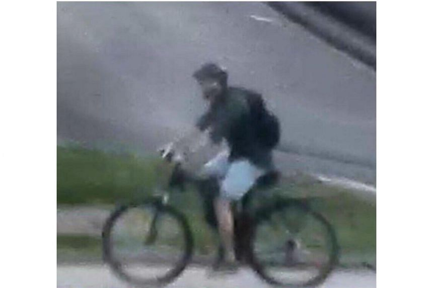 Security camera footage of the incident showed the partially masked suspect wheeling a bicycle to the scene, before leaving a bag outside a branch of a popular bakery chain.