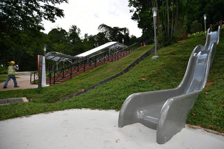 The Jubilee Park sits on the western slope of Fort Canning Park.