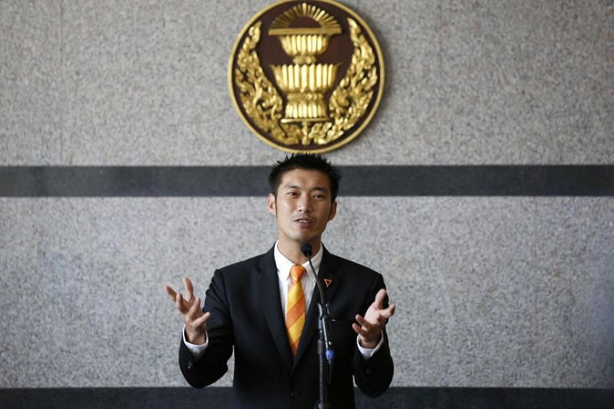Future Forward Party leader Thanathorn Juangroongruangkit talks to the media after he was not allowed to participate in a meeting to vote the new Speaker of the House of Representatives of Parliament, in Bangkok on May 25, 2019.