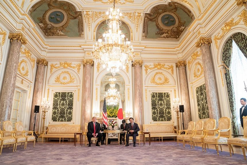 US President Donald Trump and Japan's Prime Minister Abe Shinzo met for bilateral meetings and a working lunch at Akasaka Palace on May 27, 2019.