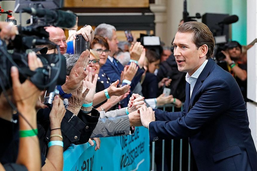 Austrian Chancellor Sebastian Kurz with supporters after the European Parliament elections on Sunday. His Austrian People's Party surged to a decisive victory in the ballot.