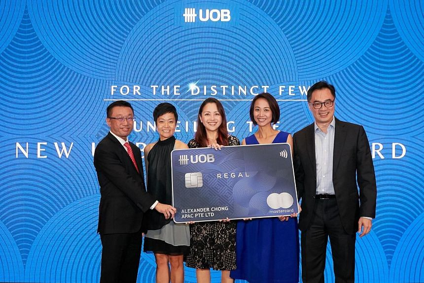 UOB's head of industry group, commercial banking Choo Kee Siong, Mastercard's country manager Deborah Heng, UOB's head of personal financial services Singapore Jacquelyn Tan, UOB's head of cards and payments Singapore Choo Wan Sim and UOB's head of