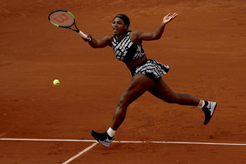 Serena Williams of the USA plays Vitalia Diatchenko of Russia during their women's first round match during the French Open tennis tournament at Roland Garros in Paris, France, on May 27, 2019.