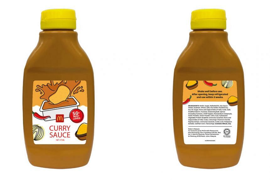 From May 30, curry sauce lovers can buy a maximum of four curry sauce bottles at $5.50 for a 375ml bottle with every purchase of McNuggets (except Chicken McNuggets Happy Meal), while stocks last.