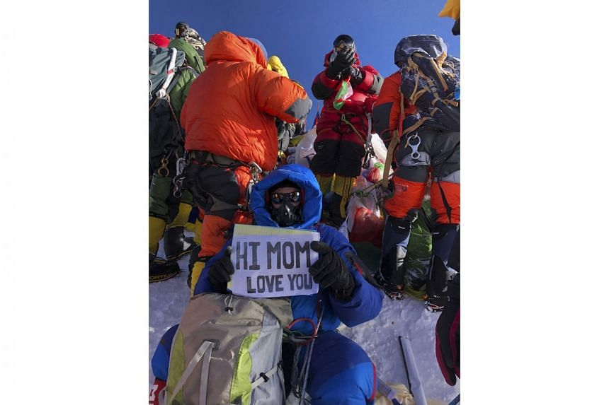 American Ed Dohring on the top of Mount Everest last week. Climbers were pushing and shoving to take selfies. The flat part of the summit, which he estimated to be the size of two ping-pong tables, was packed with 15-20 people. To get up there, he wa
