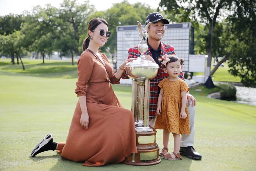 US golfer Kevin Na with his wife Jullianne and daughter Sophie after winning the Charles Schwab Challenge on Sunday in Texas.