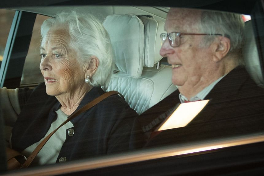 Former king Albert II and queen Paola leave after voting in regional, federal and European elections on May 26, 2019..