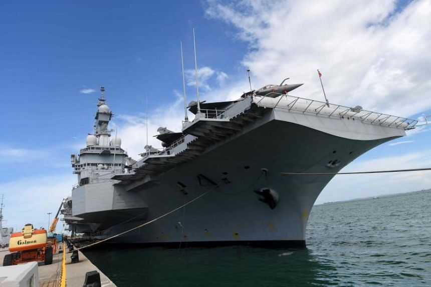 French aircraft carrier Charles De Gaulle arrived in Singapore on Tuesday, and will stay for the annual Asia defence forum Shangri-La Dialogue from May 31 to June 2.