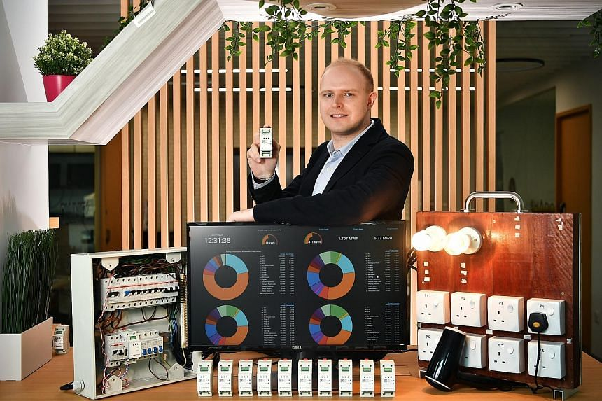 Tech firm Ampotech, led by CEO and co-founder William Temple (above), has developed the AmpoHub (left), a smart power-monitoring device that can track how much energy each household appliance consumes.