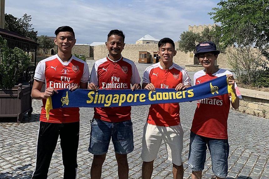 Top, from left: Arsenal fans Tan Si Han, Shaiful Ali Abdul Rahman, Teng Zhi Yan and Leo Sang Fong are in Baku, Azerbaijan, for the Europa League final between Arsenal and Chelsea. PHOTO COURTESY OF SHAIFUL ALI ABDUL RAHMAN Above: Liverpool fans, incl
