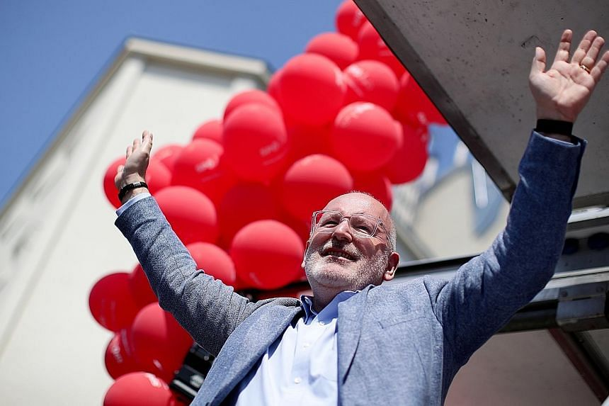 Mr Frans Timmermans during a campaign event ahead of the European Parliament elections in Vienna, Austria, last Saturday. PHOTO: REUTERS
