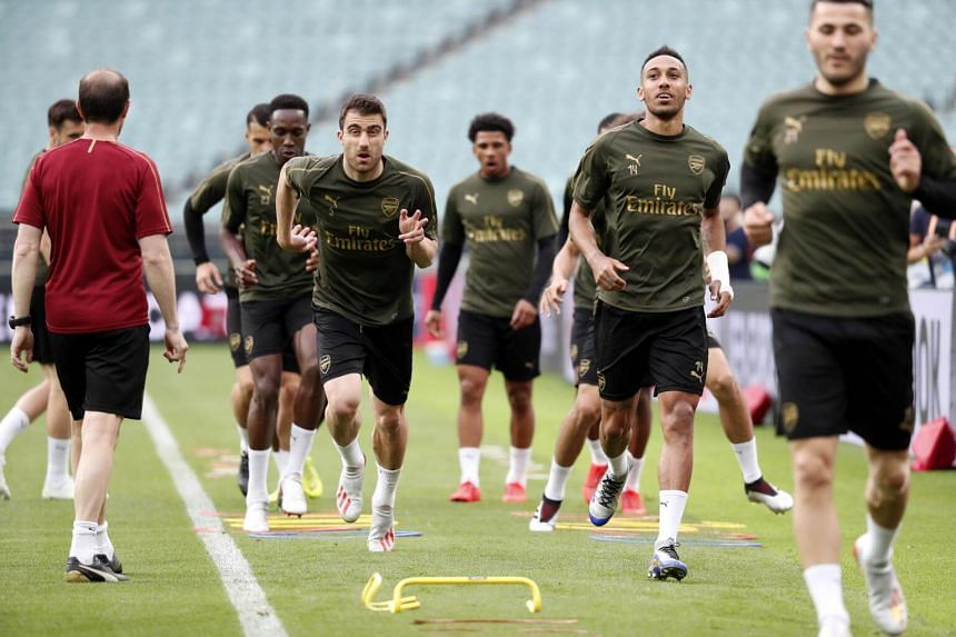 Arsenal players attending a training session at the Baku Olympic Stadium in Azerbaijan, on May 28, 2019.